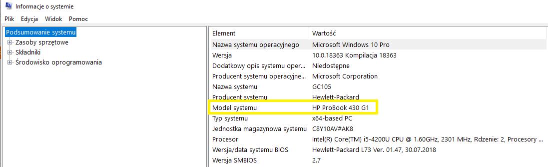 model laptopa wsystemie