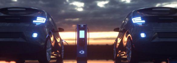 2 samochody elektryczne podczas ładowania baterii
