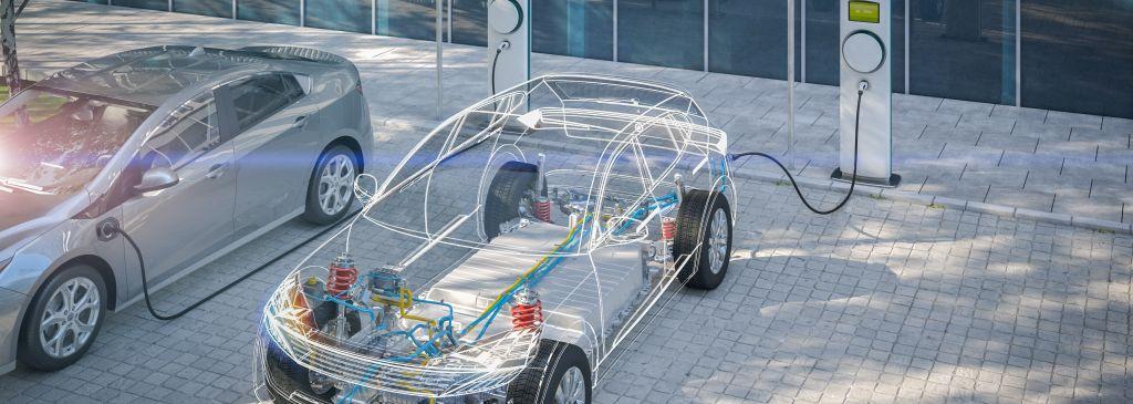 wnętrzne samochodu elektrycznego podczas ładowania